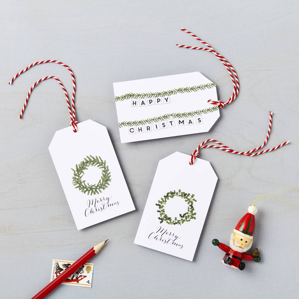 christmas wreath charity gift tag pack *special offer* by lucy says ...