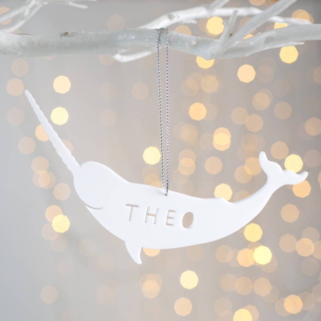 personalised narwhal christmas decoration