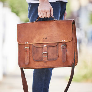 Leather Satchel With Front Pocket And Handle - mens