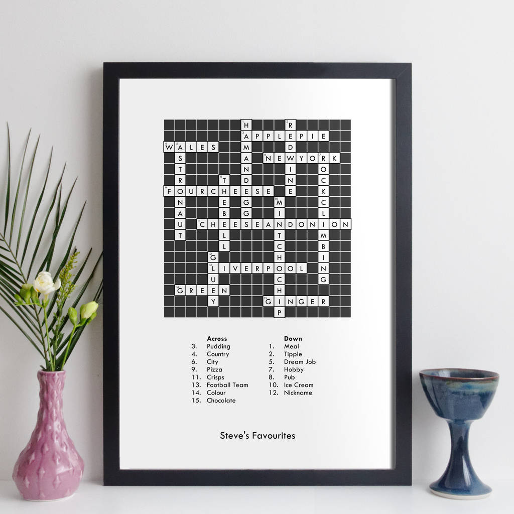 personalised traditional crossword print with clues by elevencorners rh notonthehighstreet com