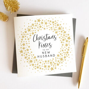 New Husband Star Wreath Christmas Card
