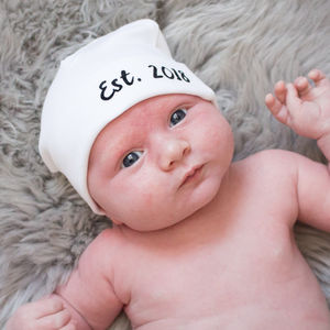 Personalised New Baby Established Hat - children's accessories