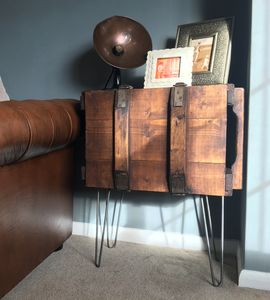 Upcycled Vintage Trunk End Table - living room