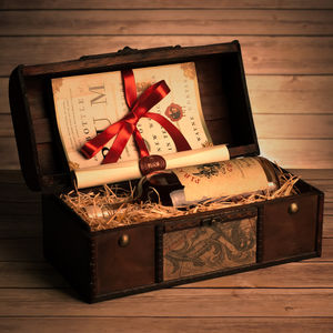 Rum Gift Chest With Personalised Scroll - foodies