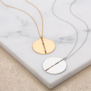 Rainbow Disc Necklace With Slider Clasp - gifts for her