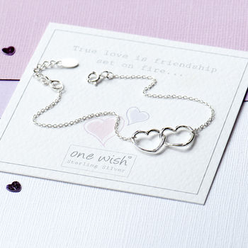 Open Interlinked Heart Bracelet In Sterling Silver