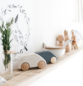 Monochrome Wooden Cars - 1st birthday gifts