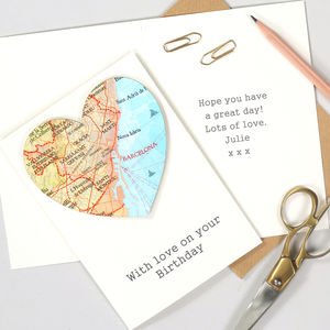 Personalised Map Location Heart Birthday Card - birthday cards