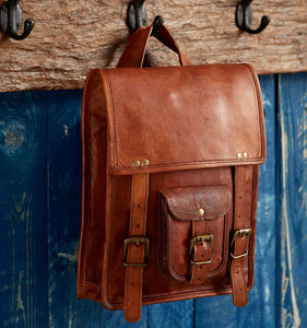 Large Brown Leather Satchel Style Rucksack