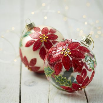 Painted Poinsettia Baubles