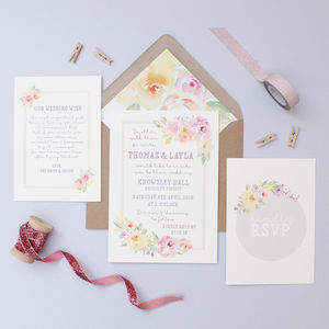 Floral Sweetheart Wedding Invitation - spring styling