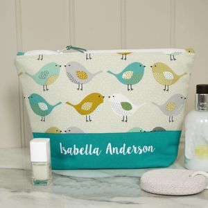 Personalised Colourful Birds Wash Bag