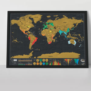 Scratch Map® Deluxe Travel Size Poster - mixed media & collage
