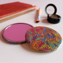 Brown Tropical Pattern Pocket Mirror