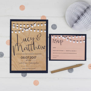 String Lights Wedding Invitation - reply & rsvp cards