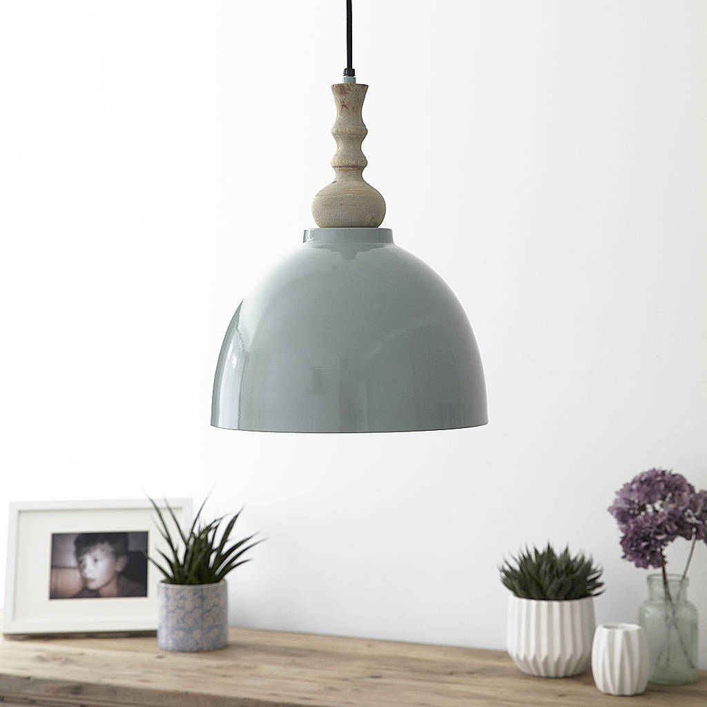 Blue Metal And Wood Pendant Light By Primrose & Plum