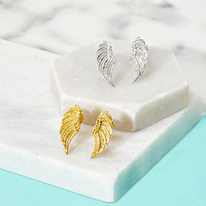 18ct Gold Vermeil Angel Wing Stud Earrings