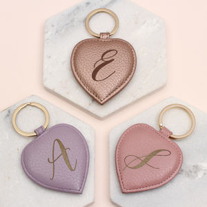 Personalised Luxury Leather Initial Keyring