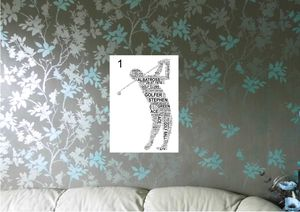 Golfer Personalised Sports Word Art. Three Poses