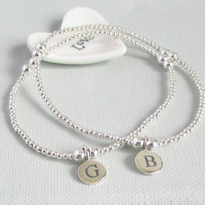 Sterling Silver Personalised Initial Beaded Bracelet