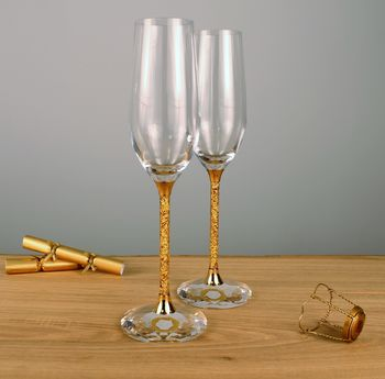Pair Of 24ct Gold Filled Stem Champagne Flutes