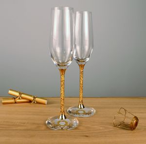 Pair Of 24ct Gold Filled Stem Champagne Flutes - table decorations