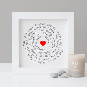 Personalised Wedding Vows Gift