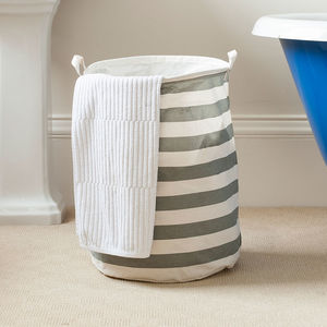 Nautical Striped Freestanding Laundry Bag - storage