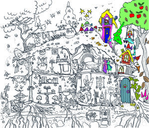 Fairy House Colouring In Poster