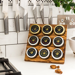 Premium Olive Wood Spice Rack With Nine Jars
