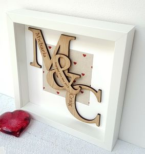 Engagement Gift Personalised Oak Initials Artwork