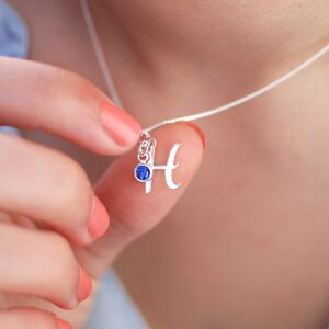 Sterling Silver Script Initial Necklace With Birthstone