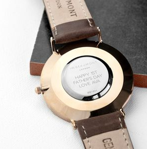 Personalised Men's Modern Vintage Leather Watch