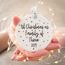 Personalised First Christmas As A Family Of Bauble