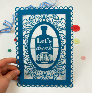 A5 Unframed Papercut 'Let's Drink Gin' - art