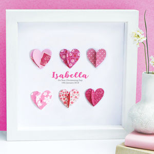 Personalised Christening Paper Hearts Art
