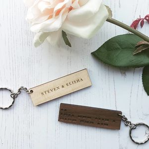 Secret Message Morse Code Personalised Wood Keyring - housewarming gifts