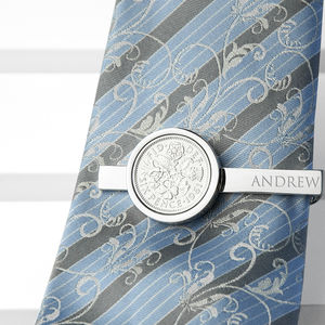 Personalised Lucky Sixpence Tie Clip - gifts for the groom