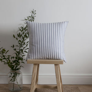 Ticking Stripe Blue Grey Cushion - baby's room