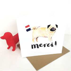 'Merci' Pug Thank You Card