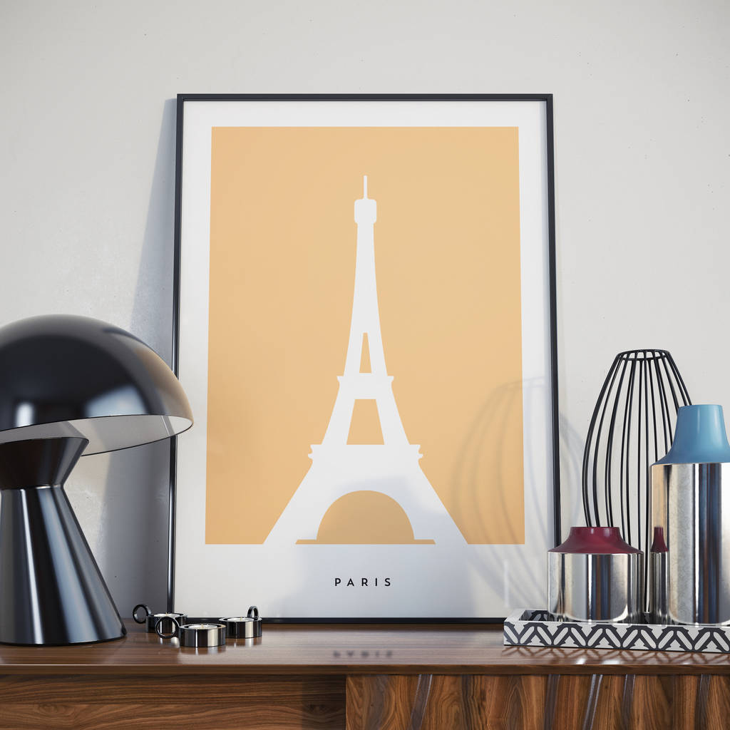 Paris Eiffel Tower Modern Landmark Print. Poster