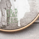 Bespoke Cotton Embroidered Photo Hoop - palm leaf print embroidery
