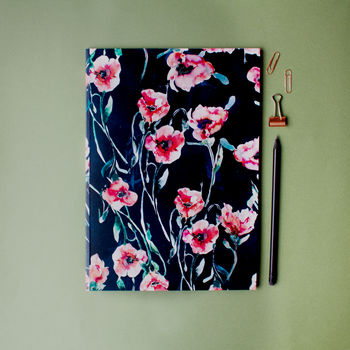 A4 Winter Poppies Notebook