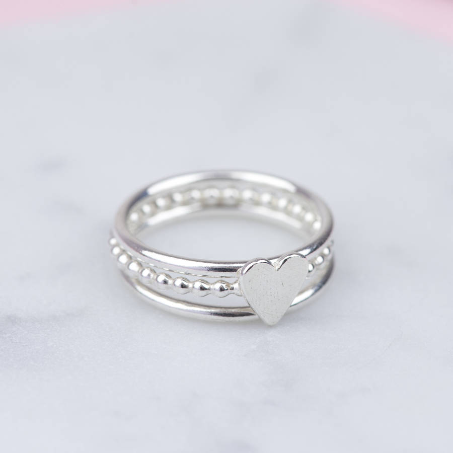 Handmade Sterling Silver Heart Stacking Ring Set