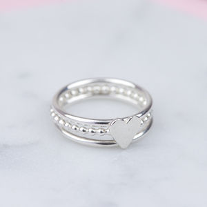 Handmade Sterling Silver Heart Stacking Ring Set - rings