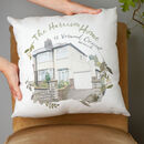 personalised cushion with family name and address with image of house surrounded by floral pattern