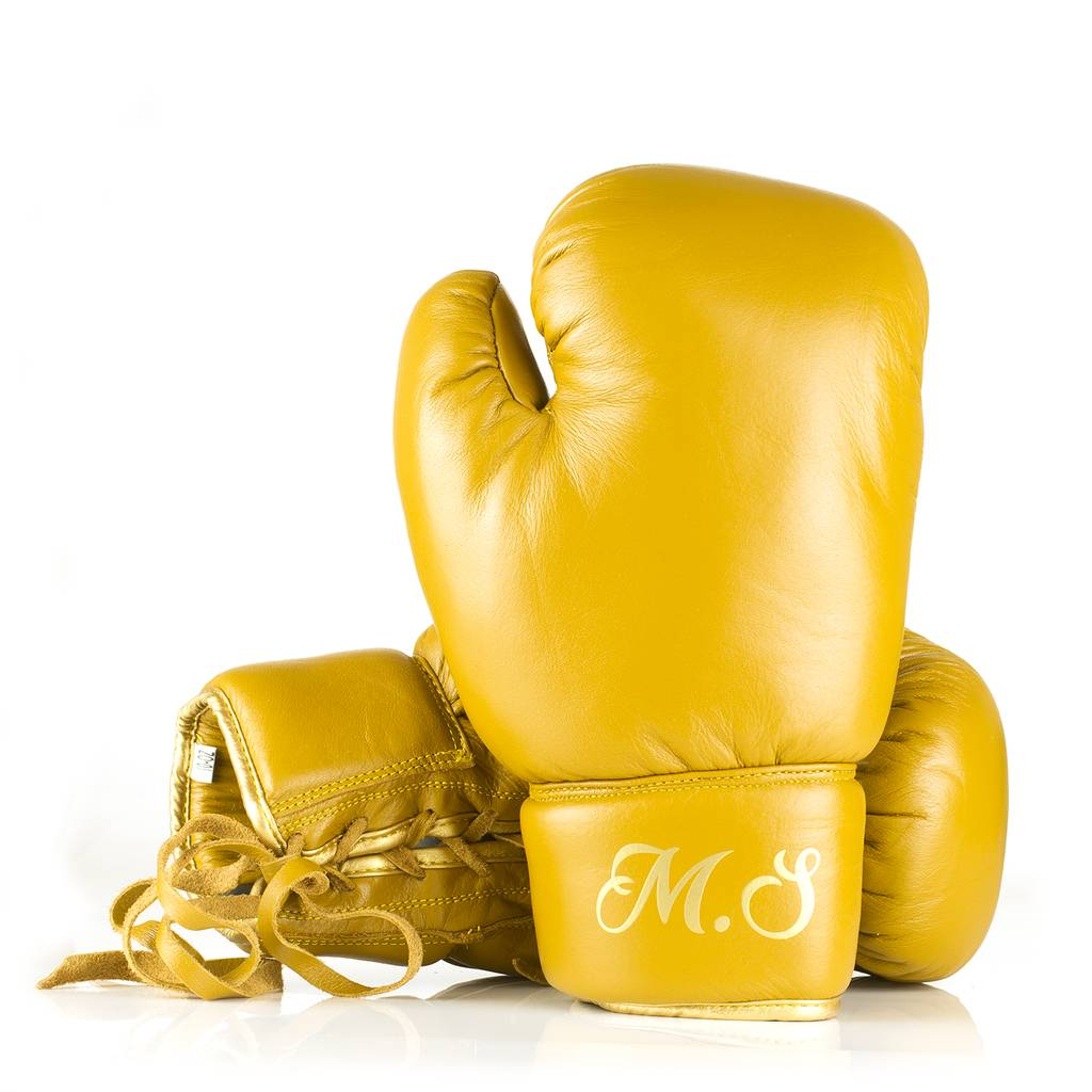 Personalised Leather Boxing Gloves Tan Leather
