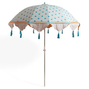 Turquoise And Orange Block Printed Parasol