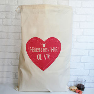 Personalised Cotton Christmas Heart Sack