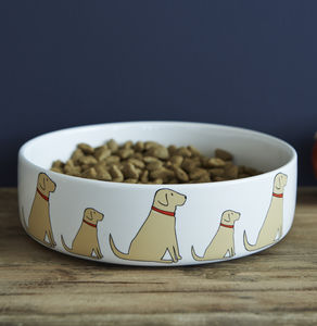 Yellow Labrador Dog Bowl - bowls & mats